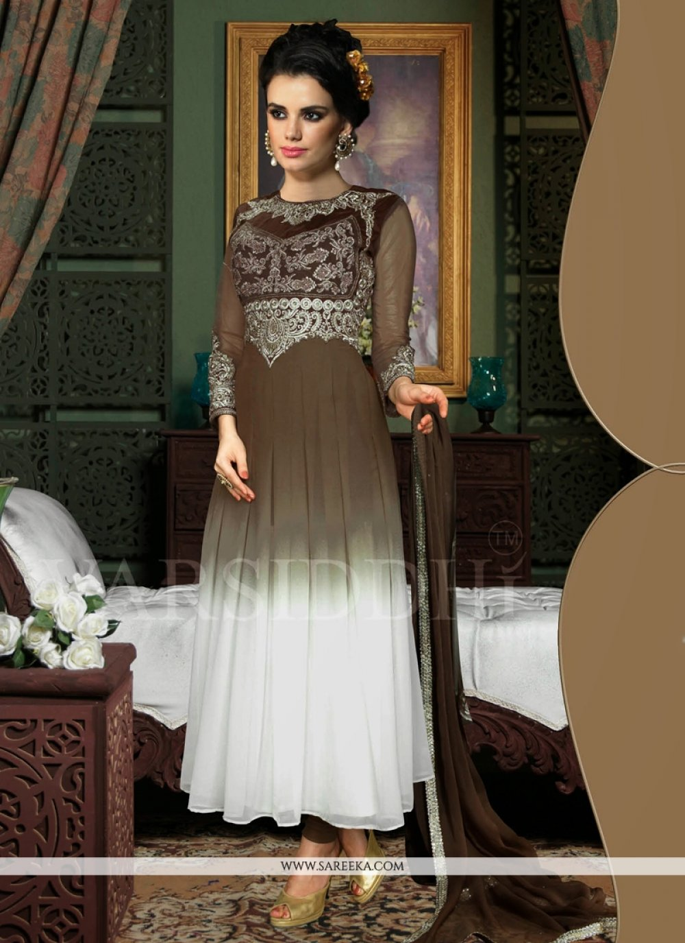 White And Brown Shaded Georgette Anarkali Suit