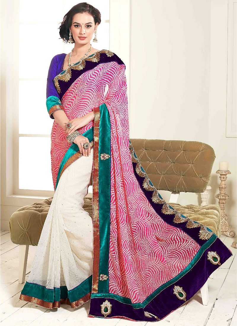 White And Pink Embroidery Georgette Designer Saree