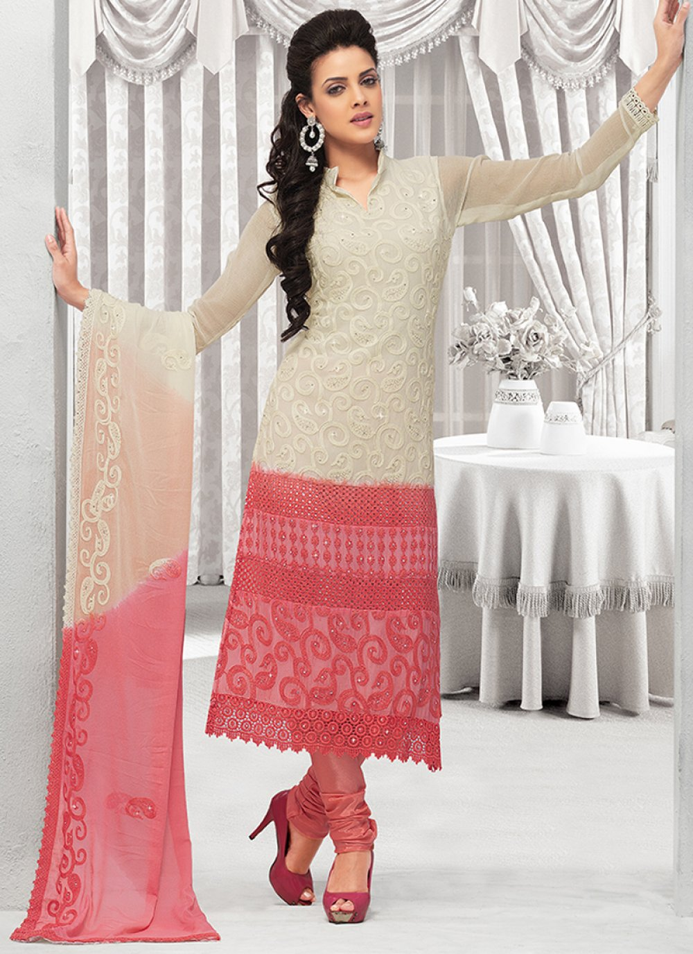 White And Pink Pure Chiffon Churidar Suit