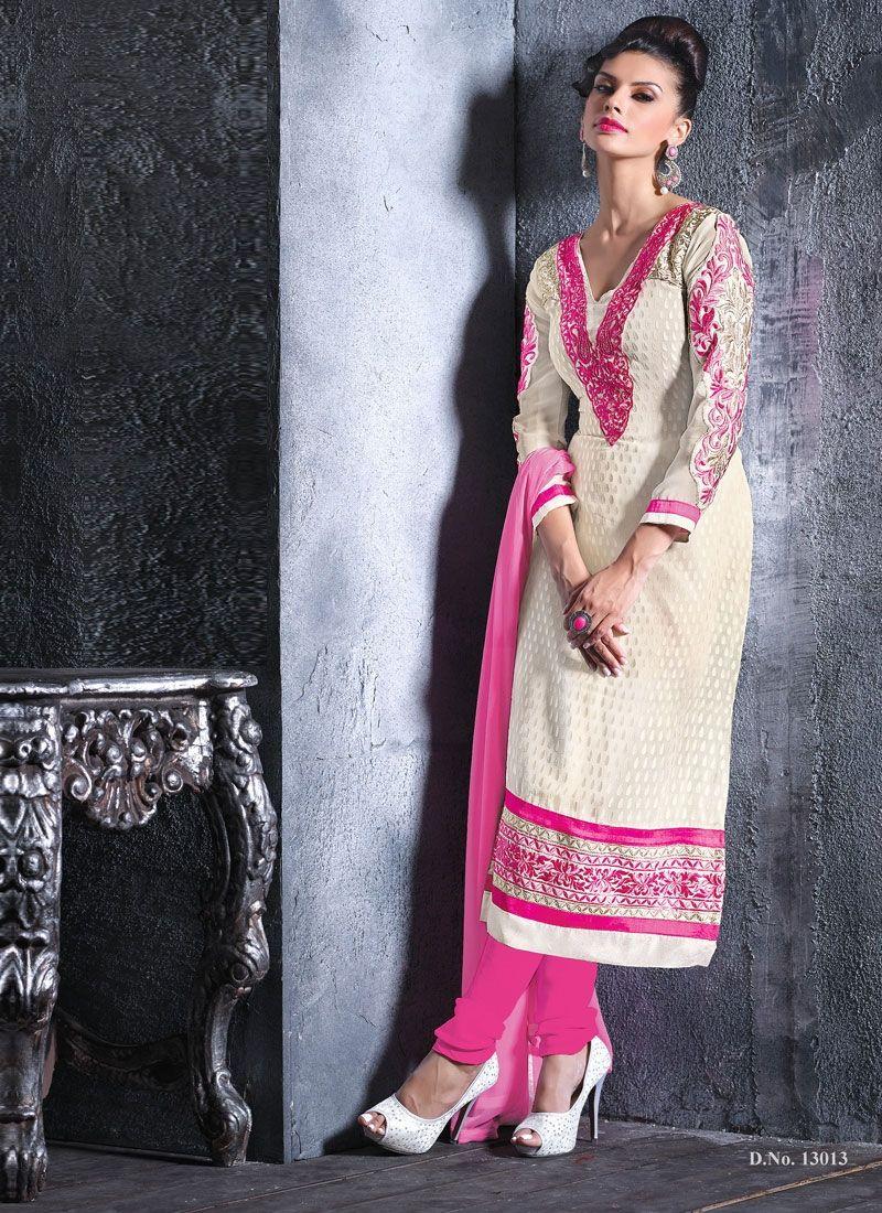 White And Pink Resham Churidar Suit
