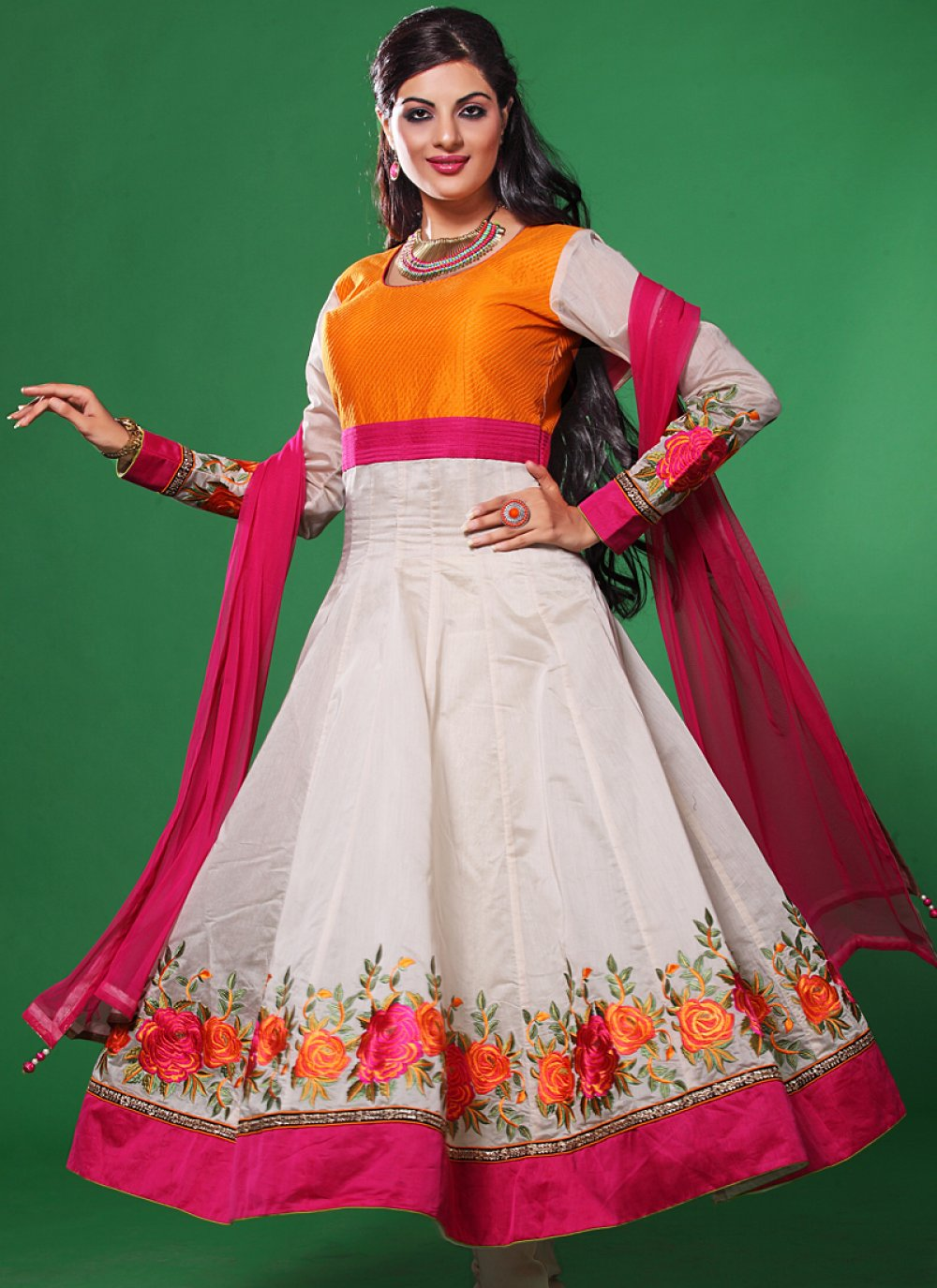 White And Pink Resham Work Anarkali Salwar Suit