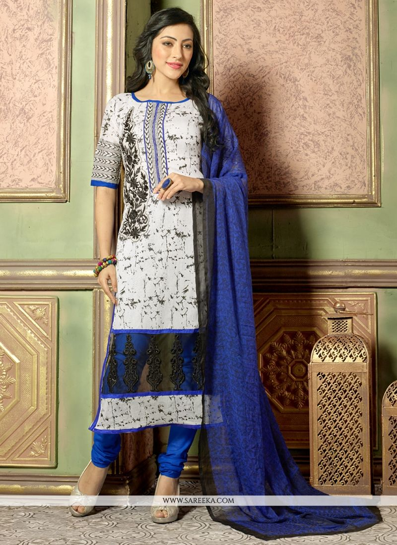 White Chanderi Cotton Churidar Salwar Kameez