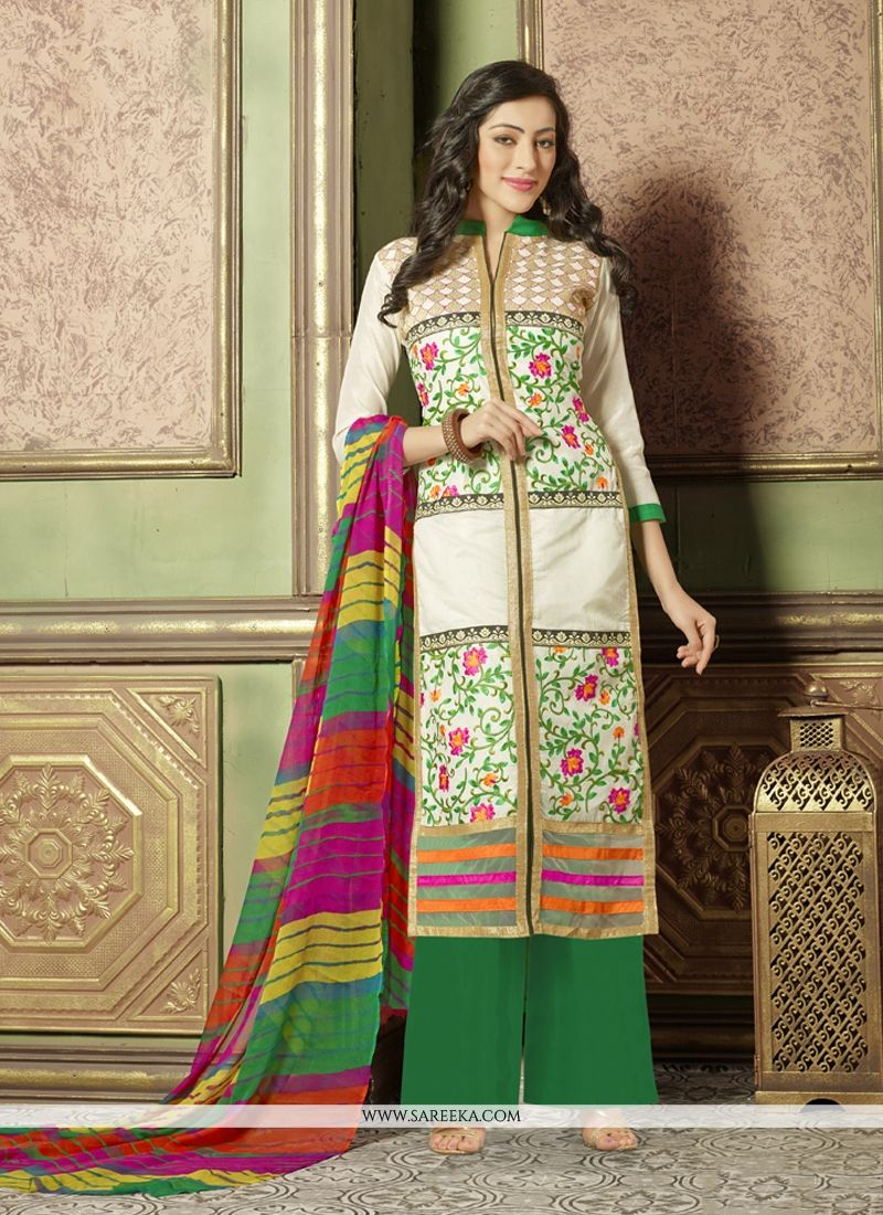 White Chanderi Cotton Designer Palazzo Suit
