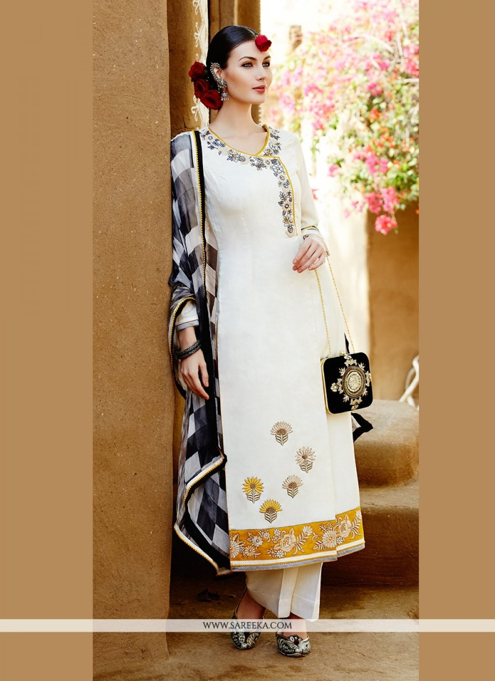 White Cotton Satin Pant Style Suit