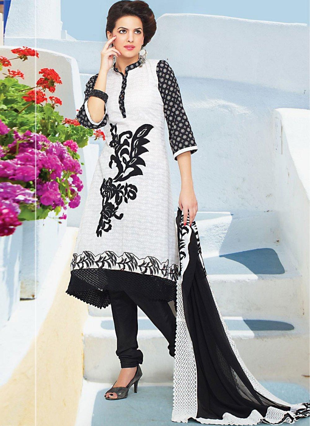 White Faux Georgette Churidhar Suit