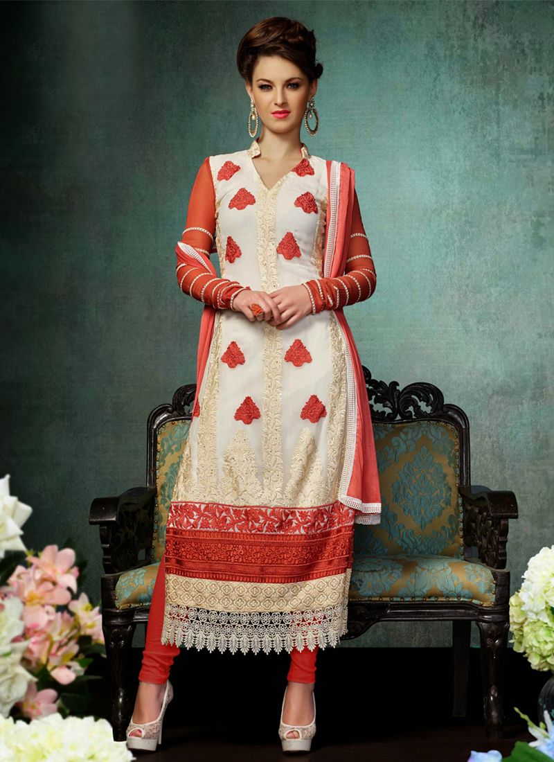 White Georgette Churidar Salwar Kameez