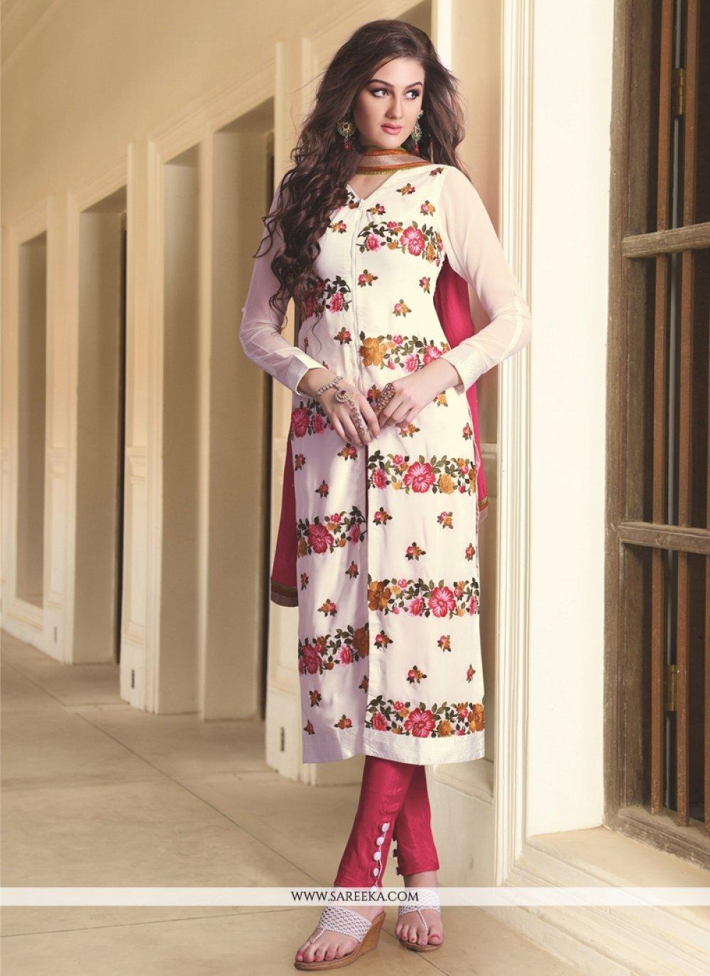 White Georgette Designer Straight Salwar Kameez