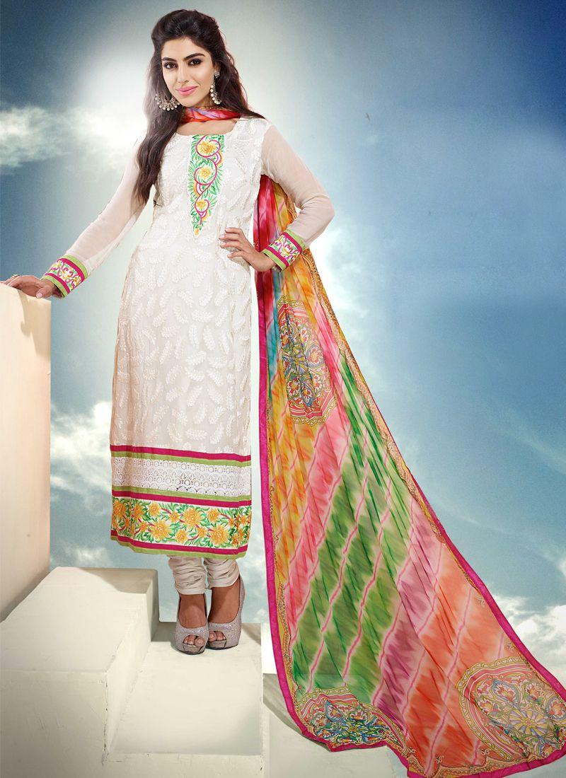 White Pure Chiffon Churidar Suit