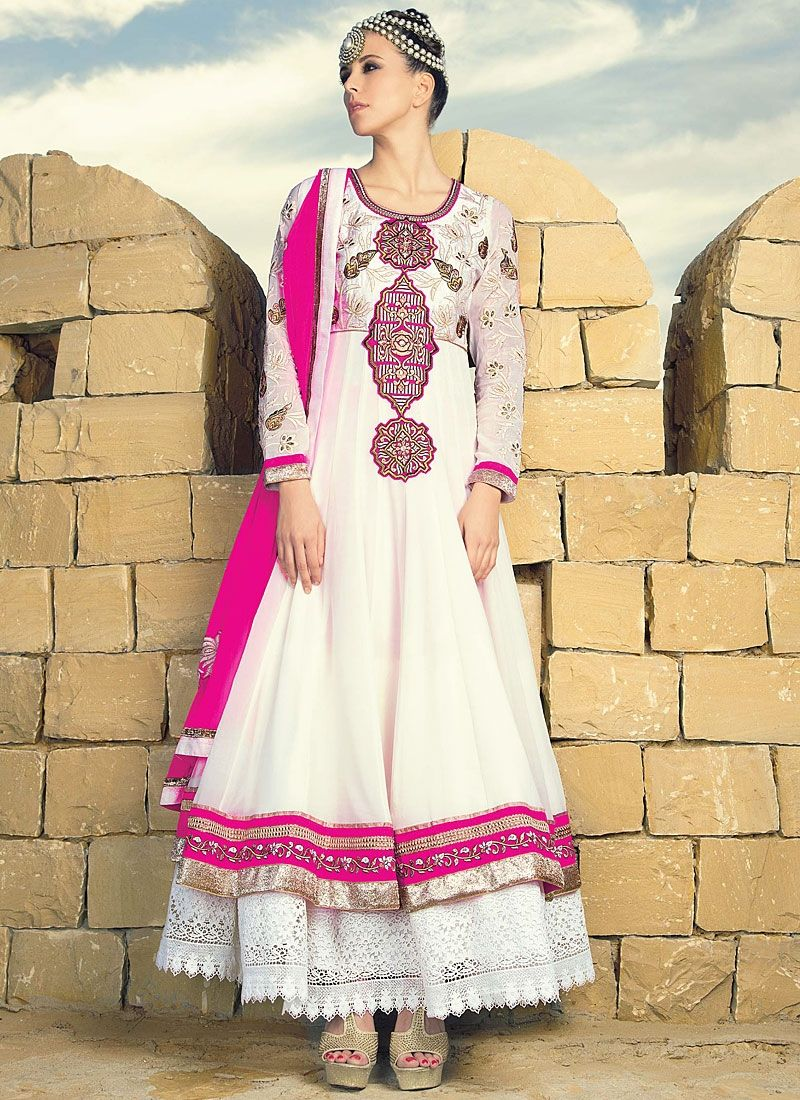 White Resham Work Georgette Anarkali Suit