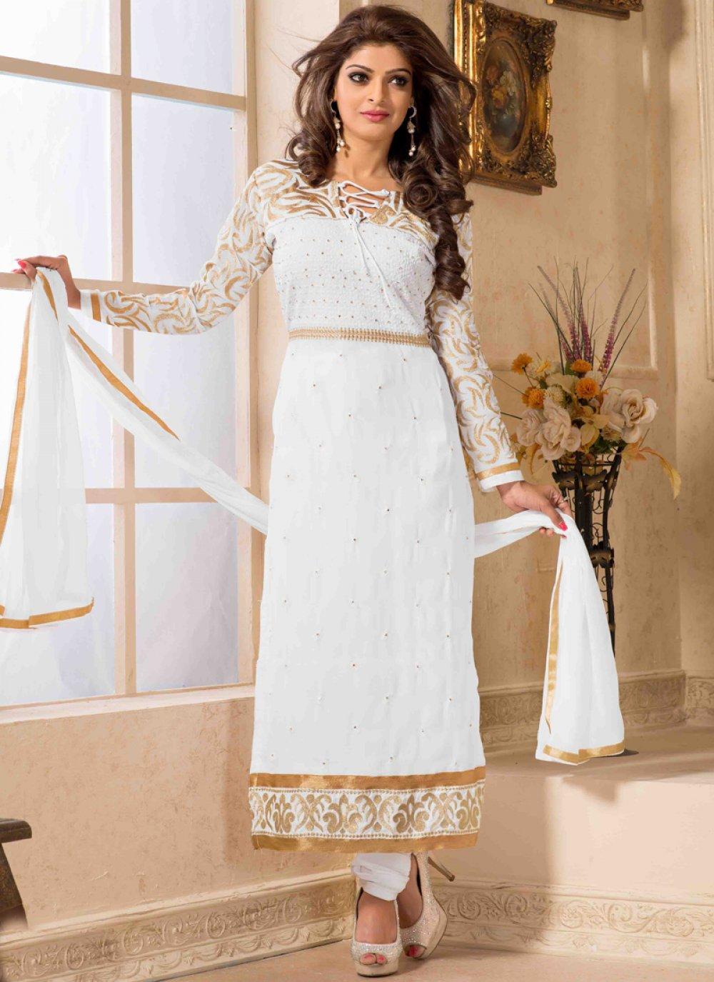 White Zari Work Churidar Suit