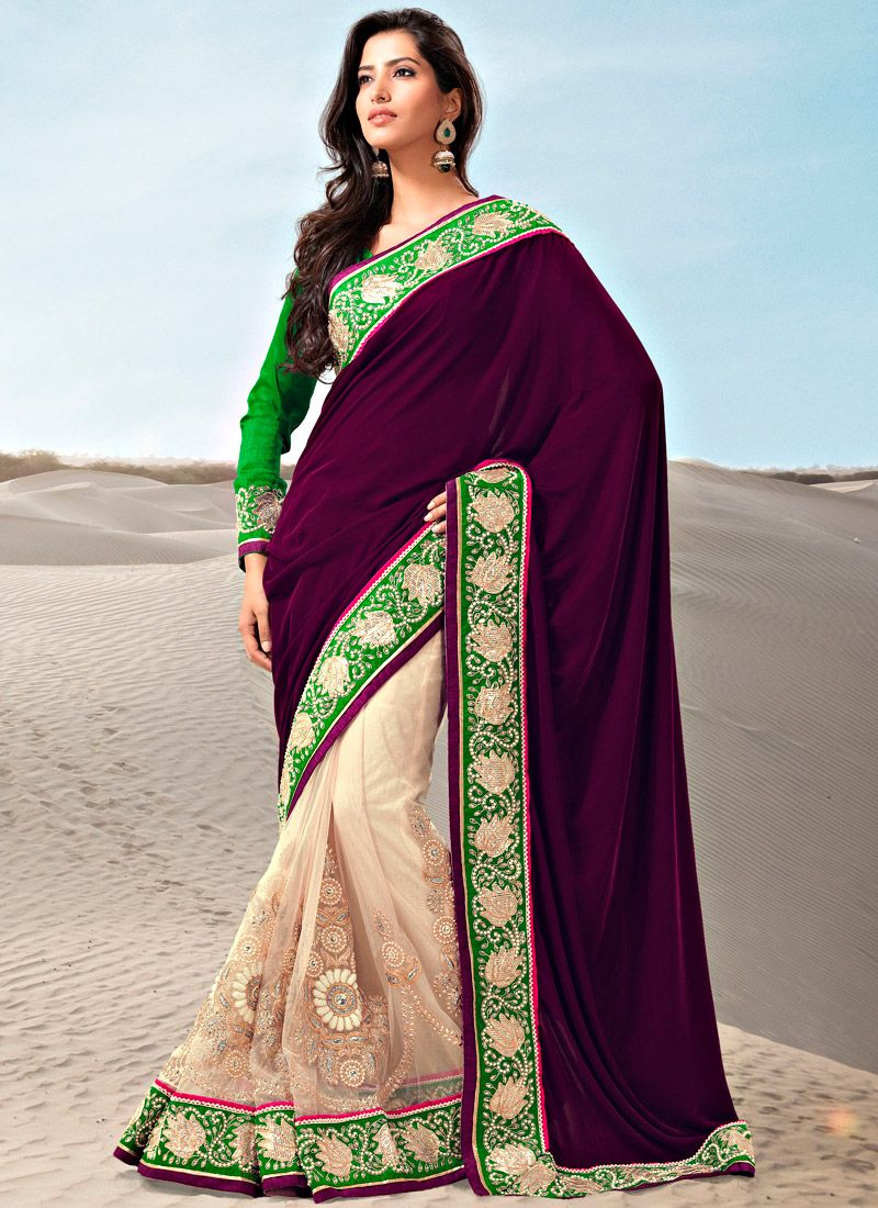 Wine And Cream Half N Half Saree