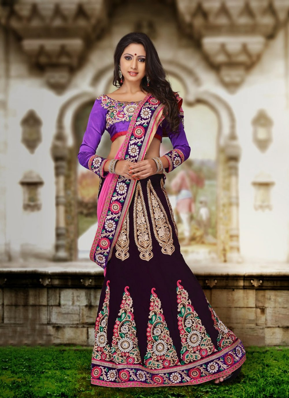 Wine And Violet Velvet Lehenga Choli