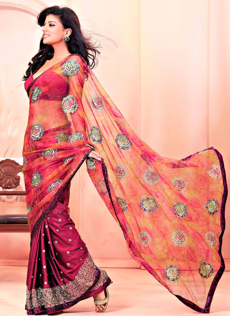 Wine,Mustard Net and Faux Satin Saree