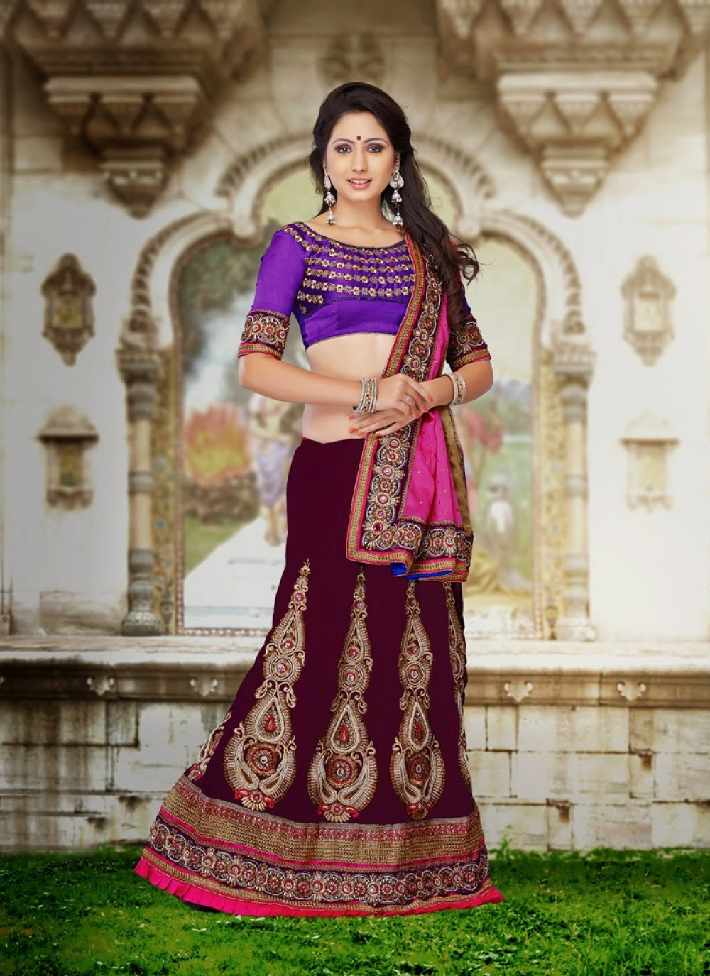 Wine Velvet And Jacquard Lehenga Choli