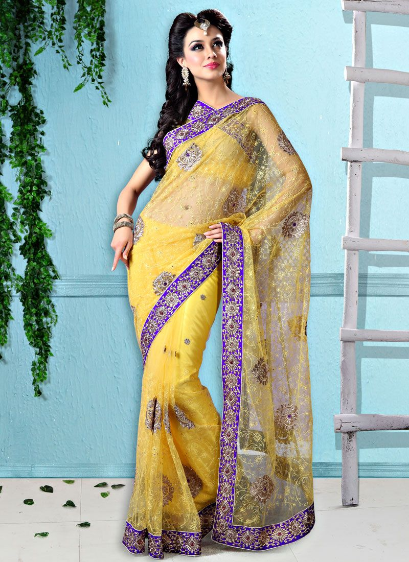 Beauty Yellow Net Saree