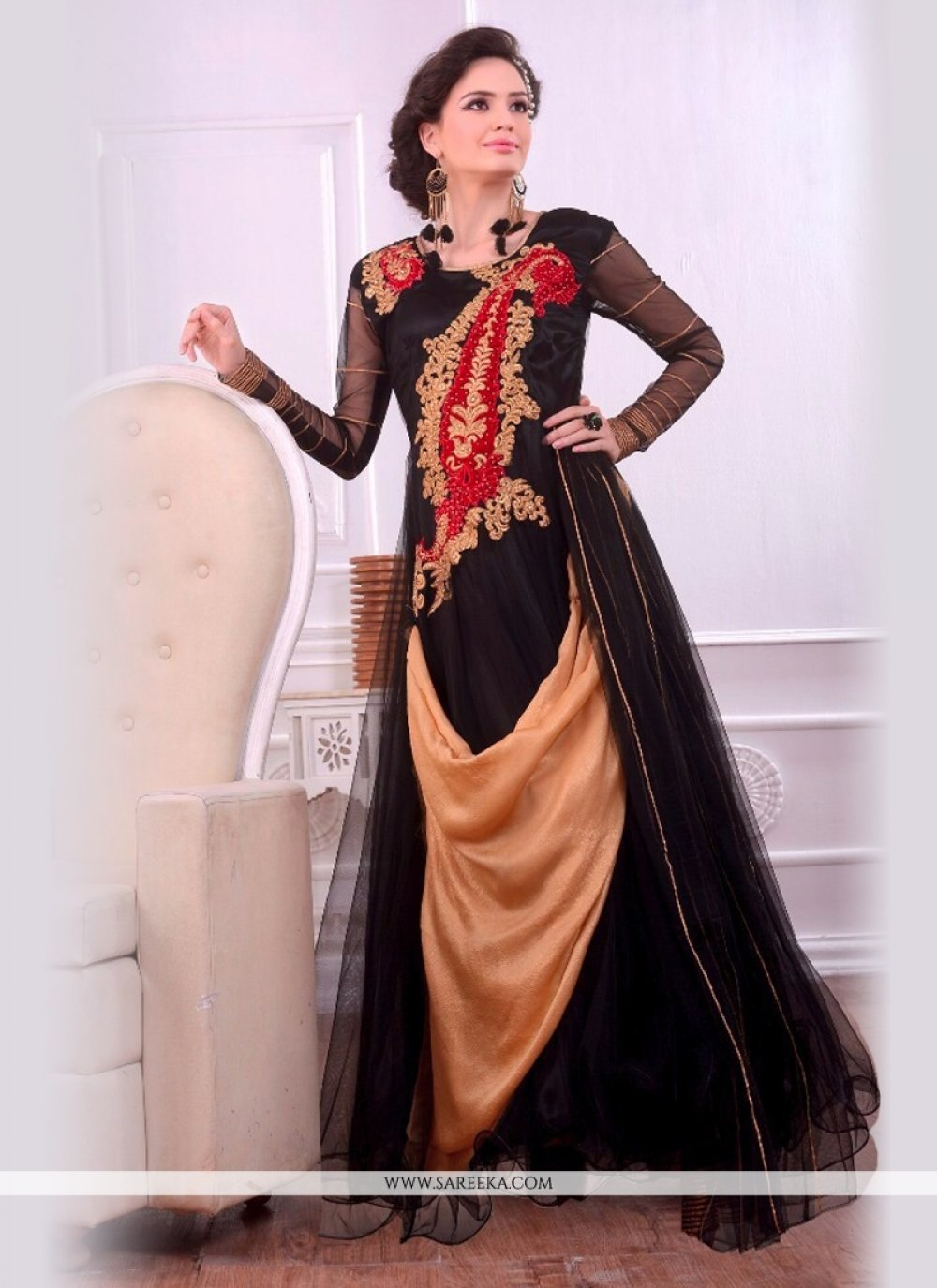Black and Beige Embroidered Work Designer Gown