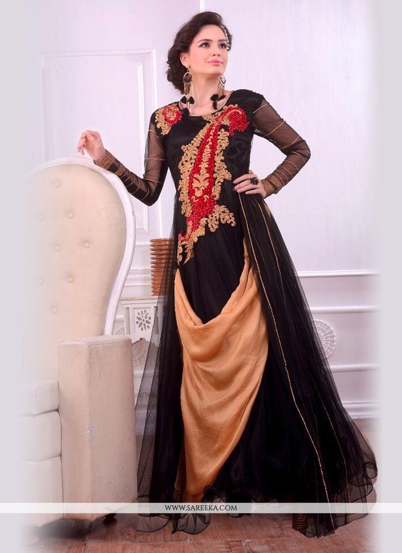 Black and Beige Embroidered Work Designer Gown