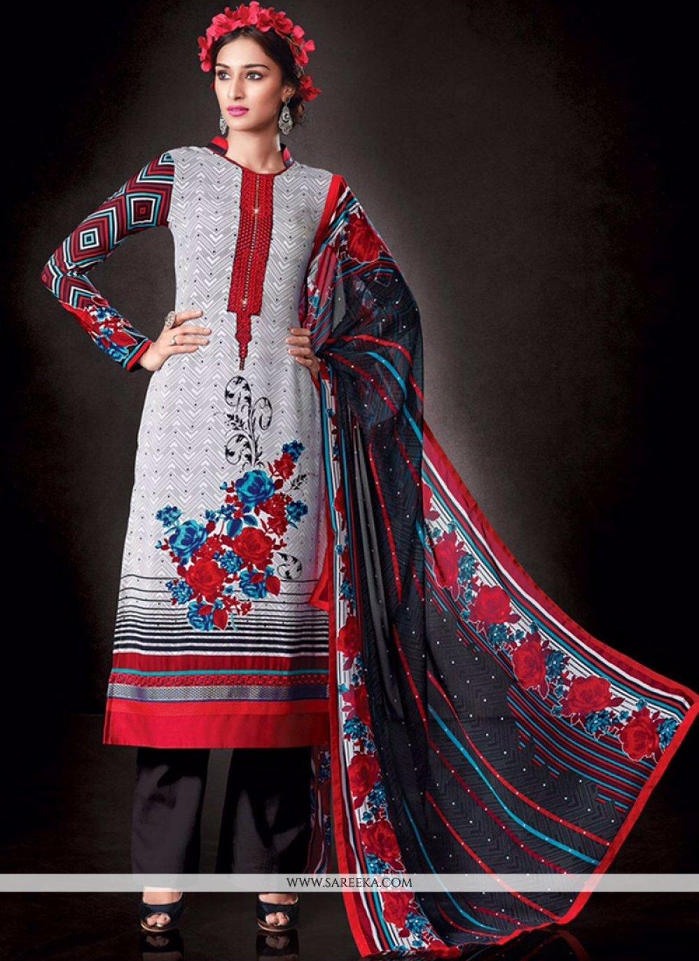Faux Crepe White Print Work Designer Pakistani Salwar Suit