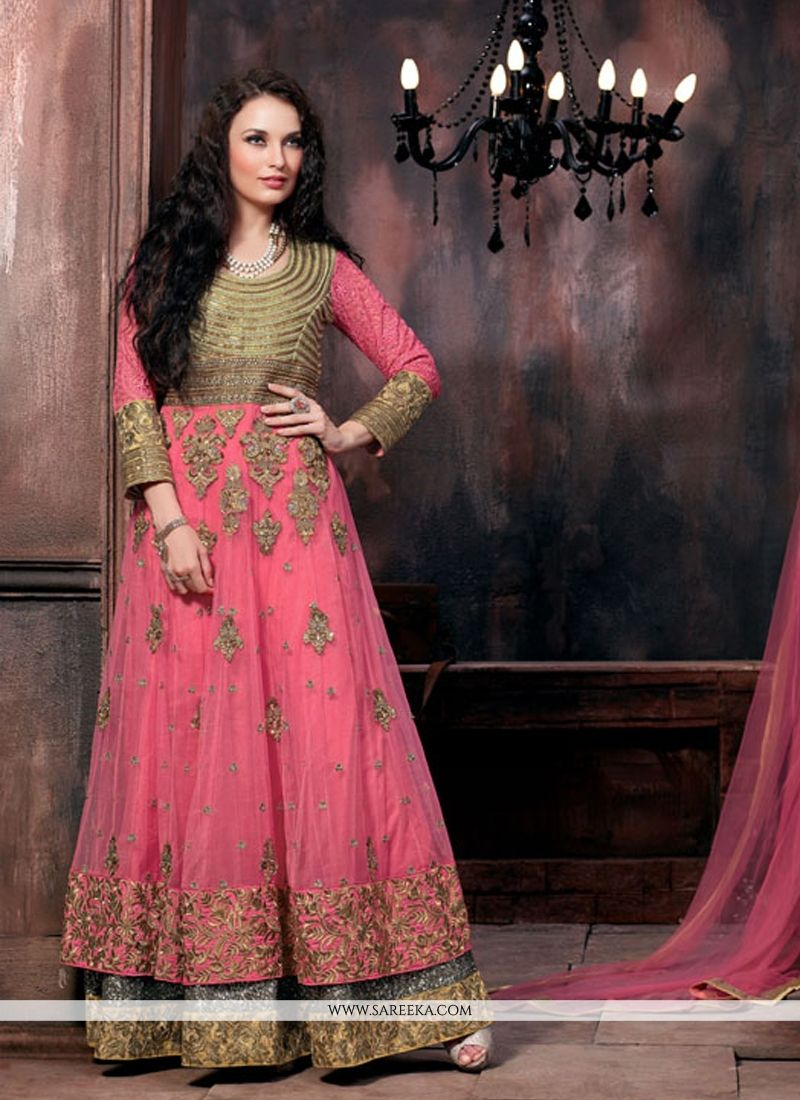 Hot Pink Floor Length Anarkali Salwar Suit