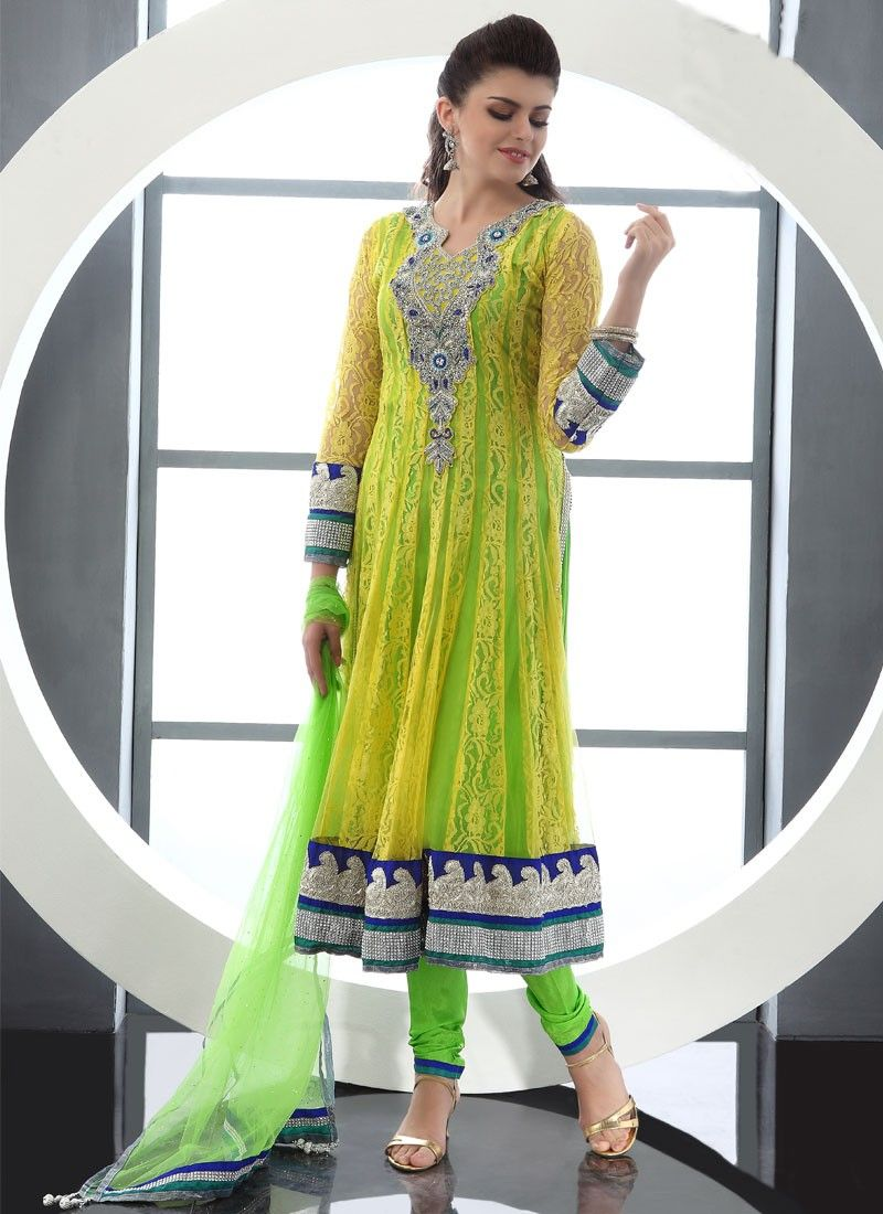 Yellow And Green Net Churidar Suit