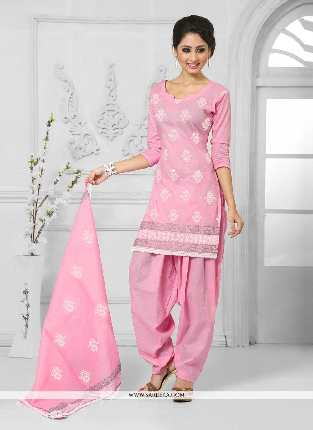 Pink Resham Work Cotton   Designer Patiala Suit