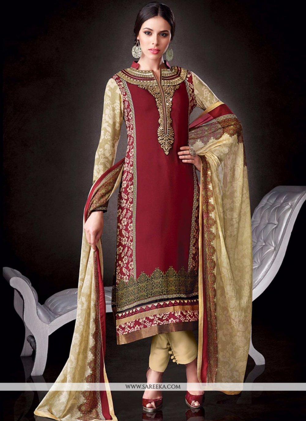 Red Print Work Faux Crepe Salwar Suit