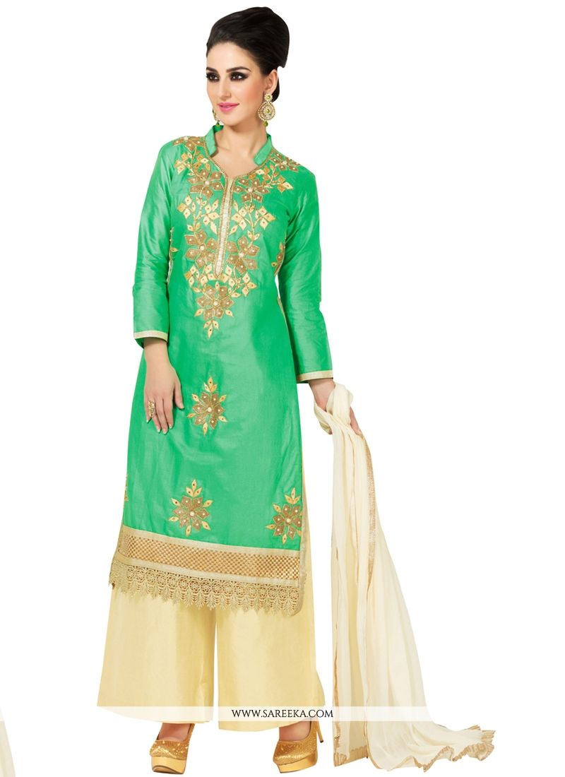 Sea Green Resham Work Cotton Satin Designer Palazzo Salwar Kameez
