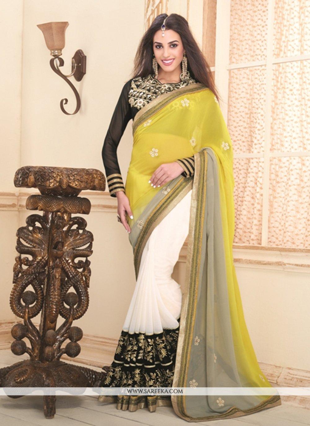 White and Yellow Designer Saree