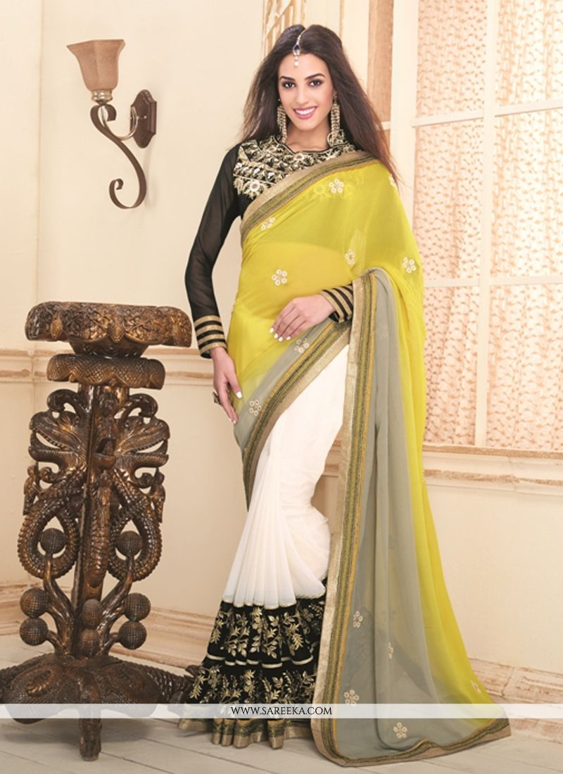 White and Yellow Designer Saree