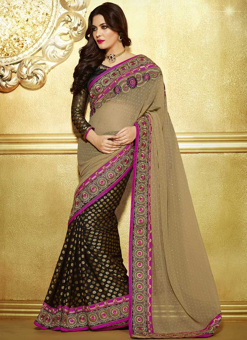 Wonderful Beige And Black Viscose Georgette Saree