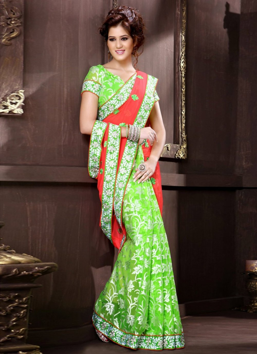 Wonderful Floral Work Red And Green Half And Half Saree