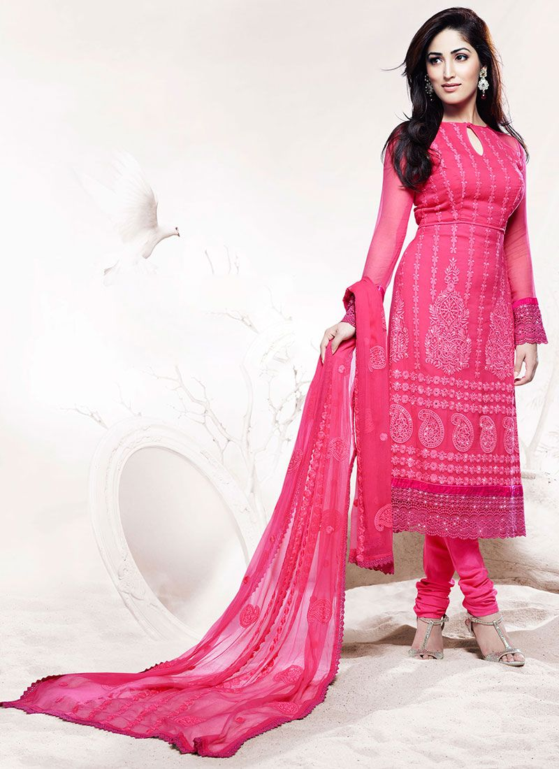 Wonderful Pink Applique Work Churidar Suit