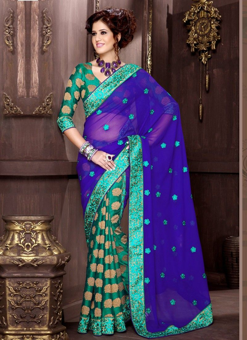 Wonderful Sea Green Viscose Half And Half Saree