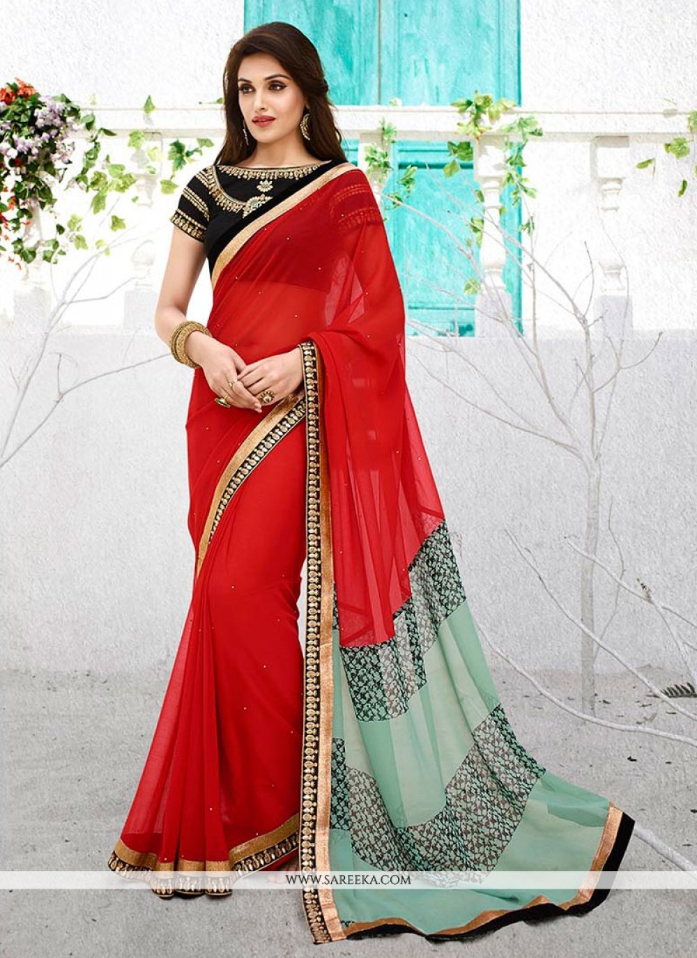 Georgette Red Casual Saree