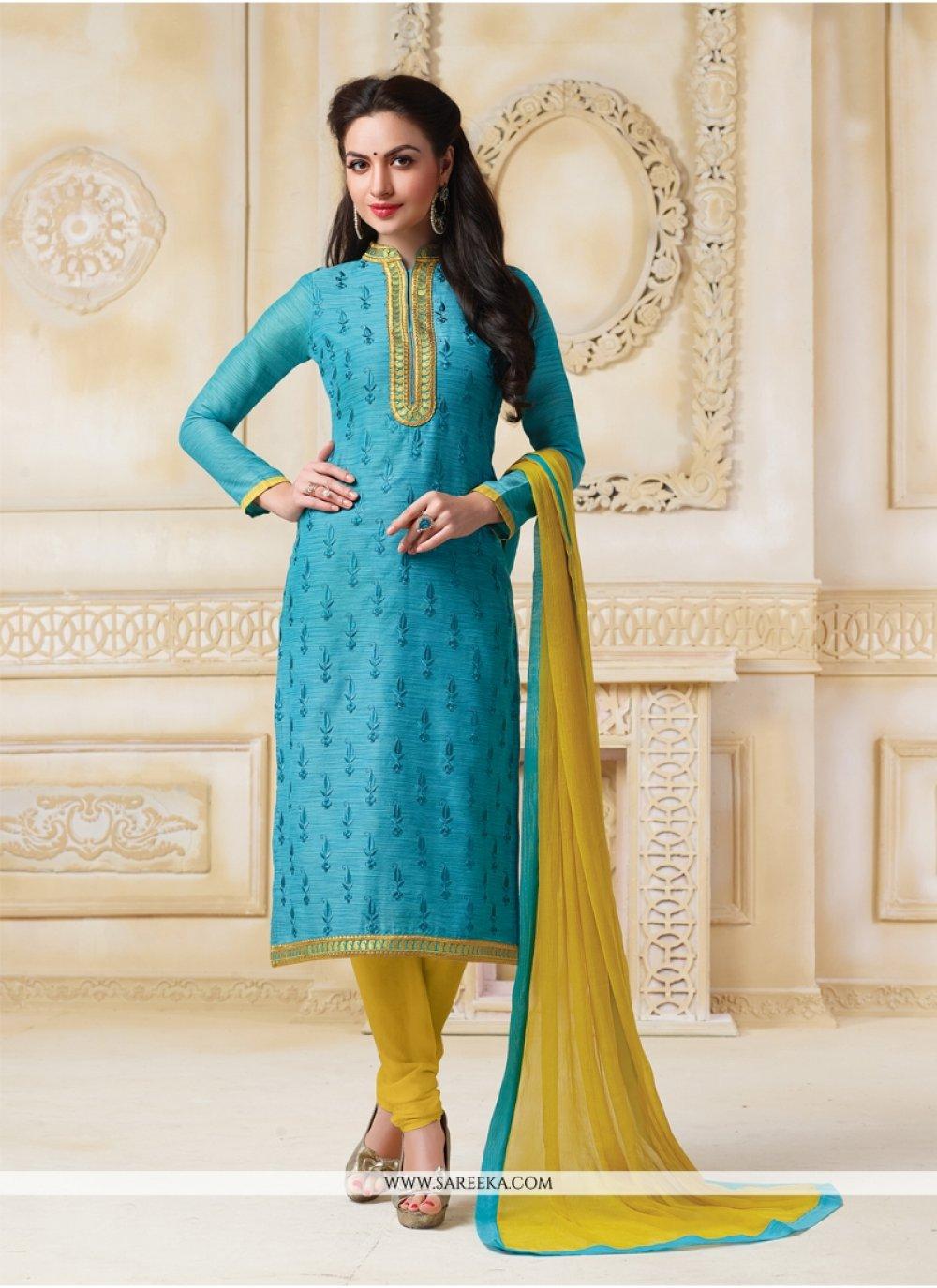 Lace Work Banarasi Silk Turquoise Churidar Salwar Suit