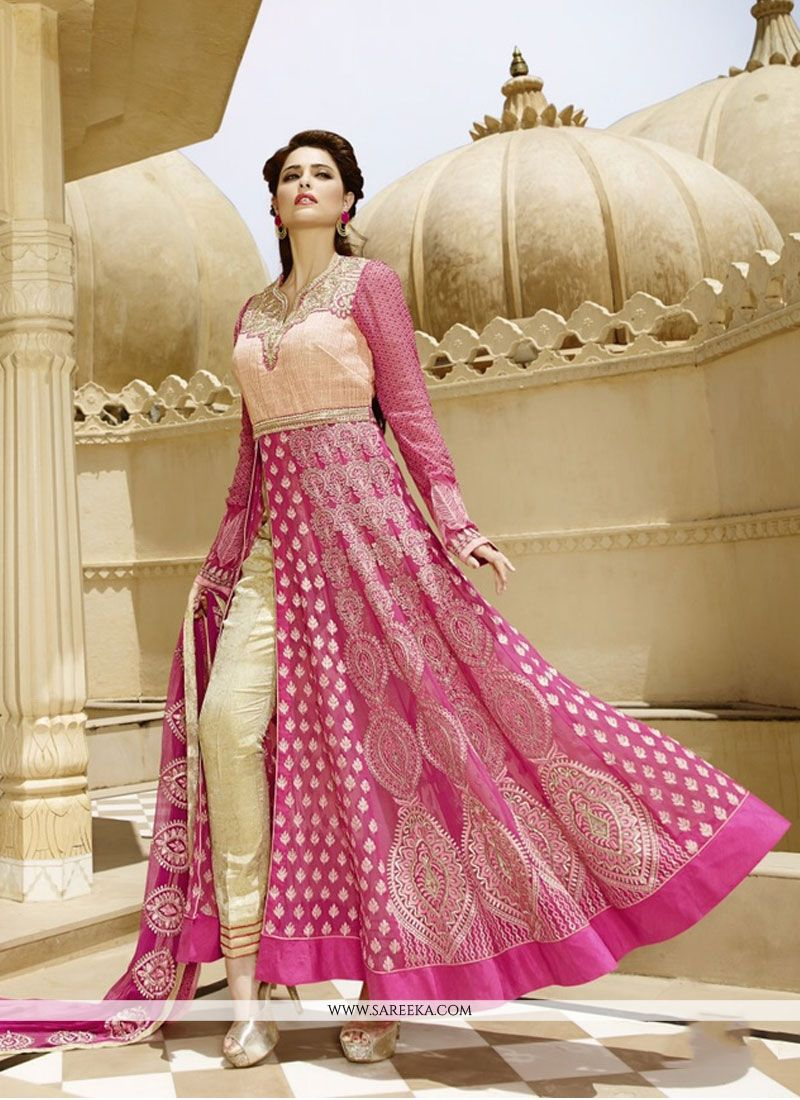 Resham Work Hot Pink Georgette Anarkali Suit