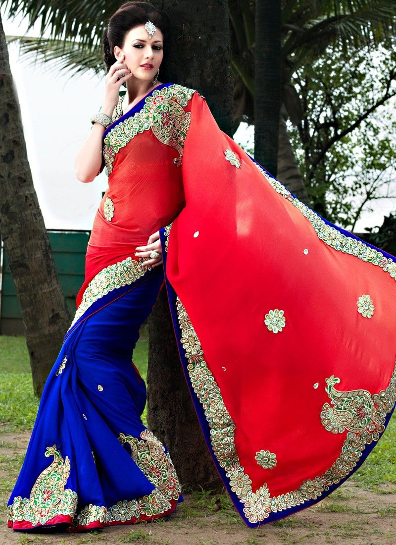 Yami Blue And Red Appliques Faux Georgette Saree