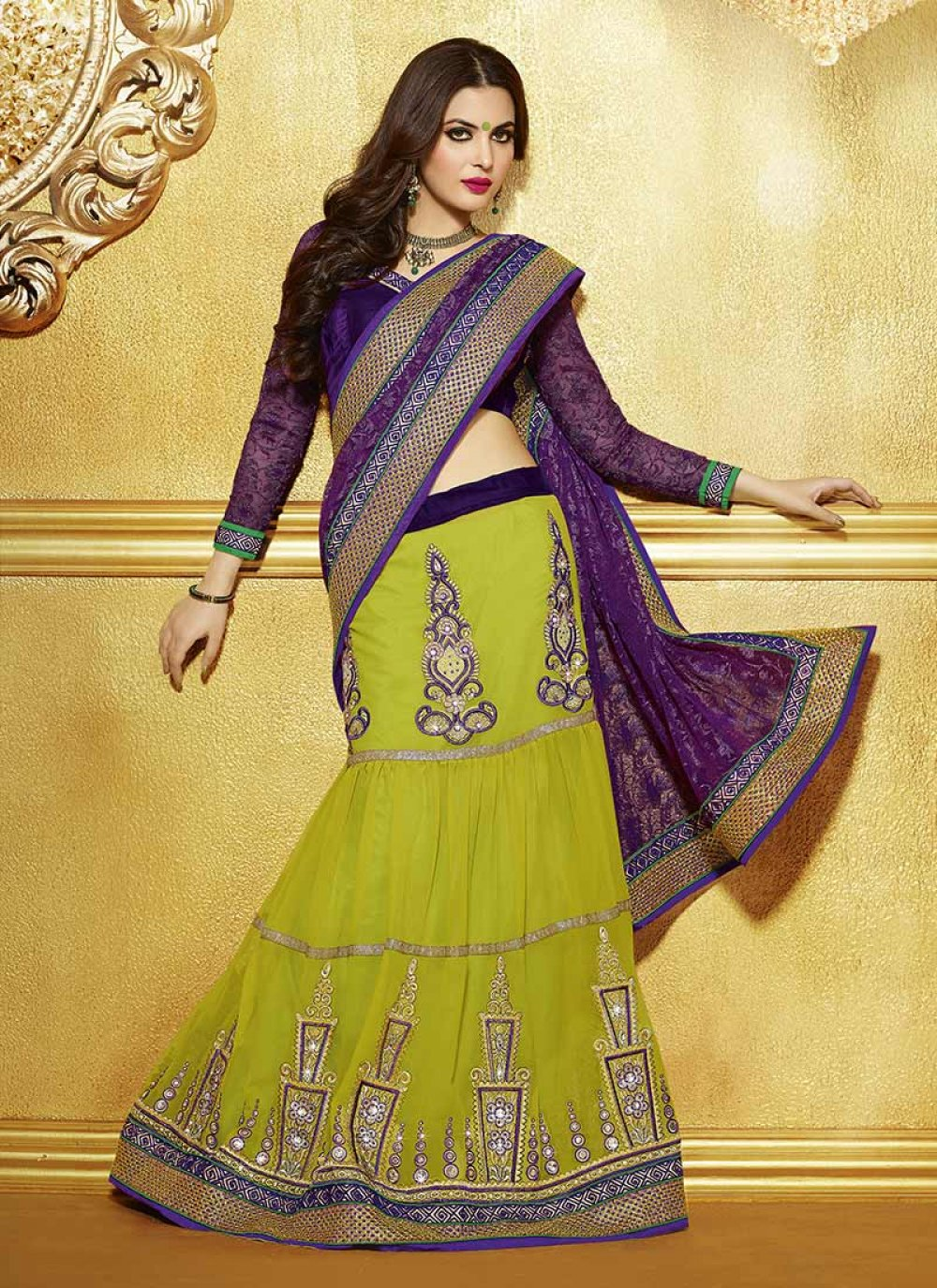 Yami Green And Purple Resham Enhanced Lehenga Style Saree