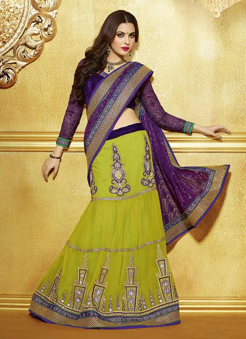 Yami Green And Purple Resham Enhanced Lehenga Style Saree