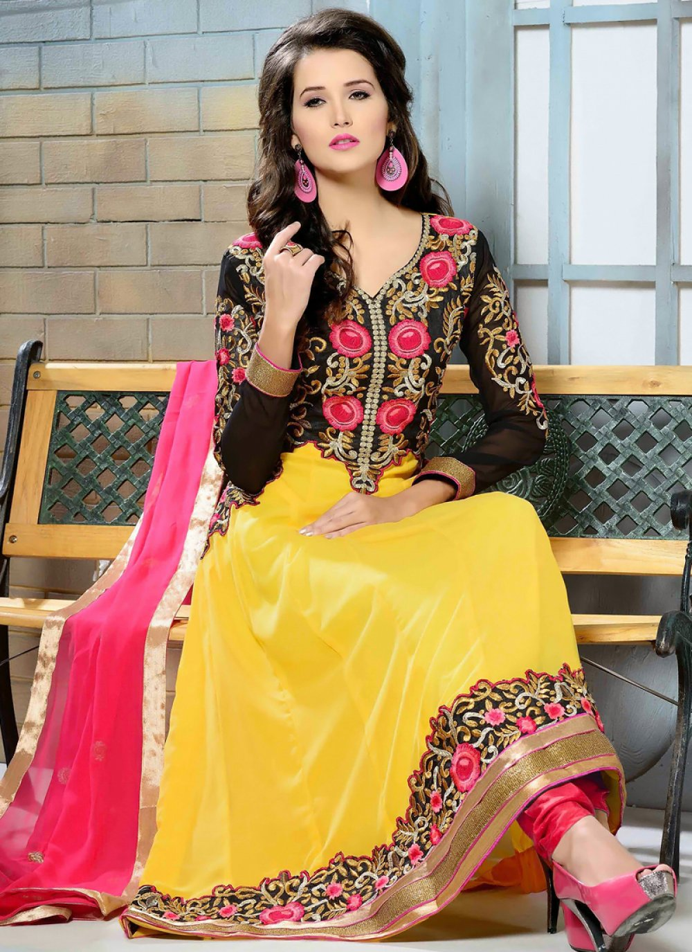 Yellow And Black Georgette Anarkali Suit