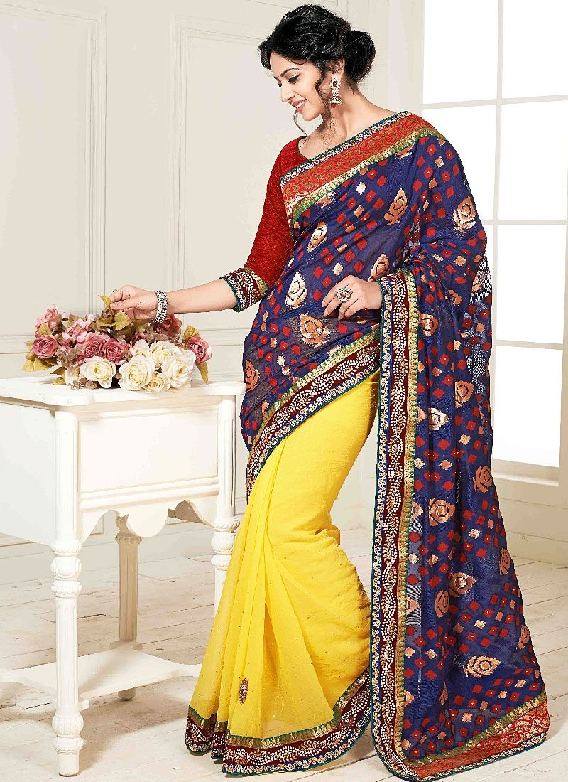 Yellow And Blue Embroidery Work Georgette Designer Saree