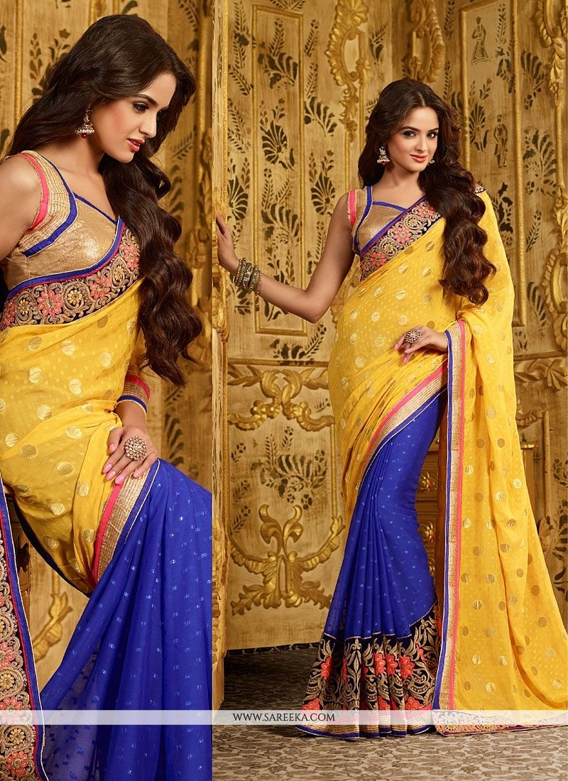Yellow And Blue Georgette Designer Saree