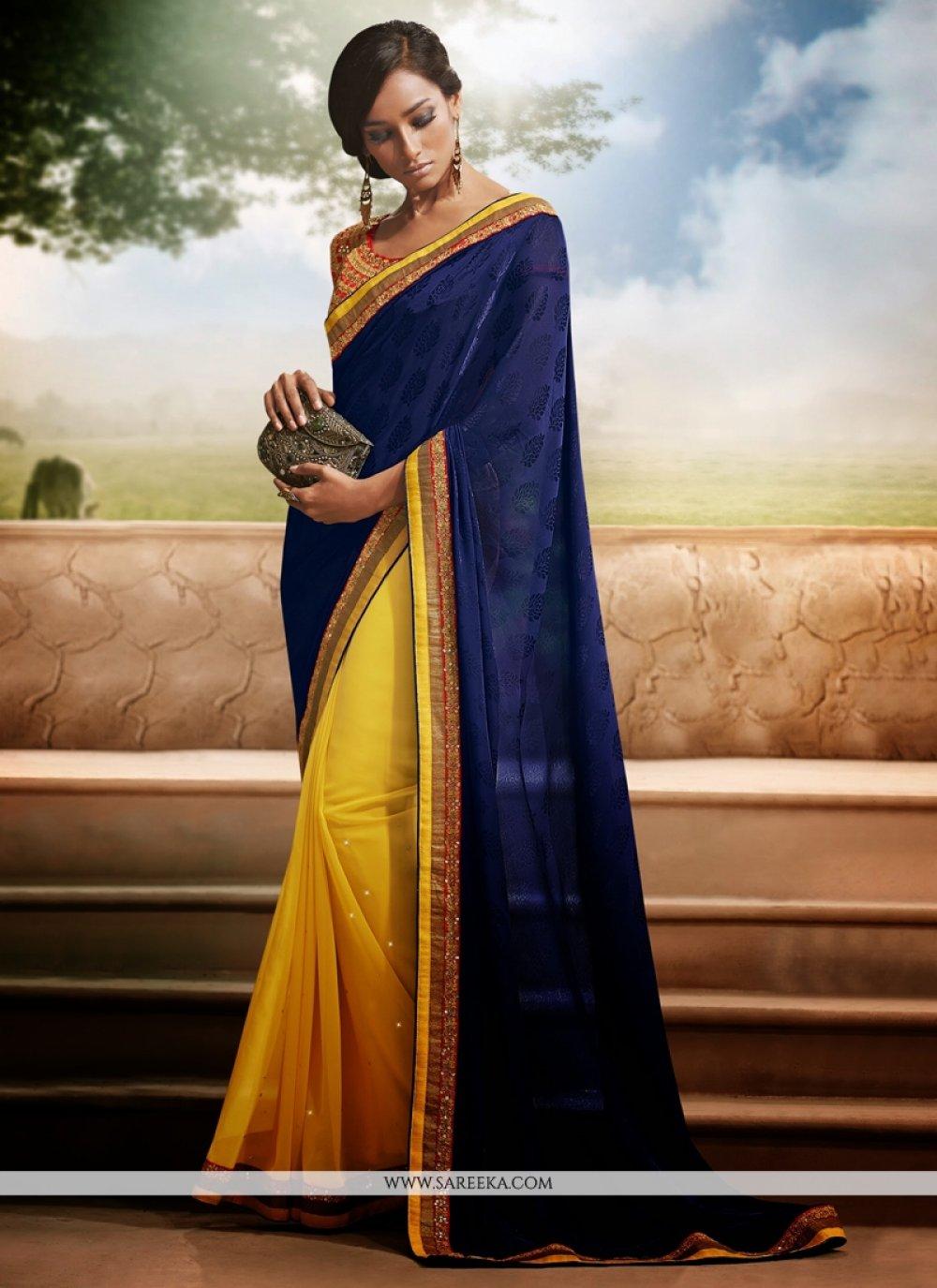 Yellow And Blue Jacquard Casual Saree