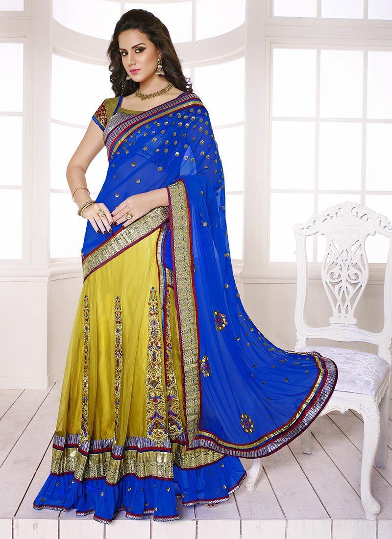 Yellow And Blue Net Lehenga Saree