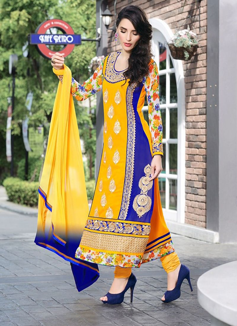 Yellow And Blue Pure Georgette Churidar Suit