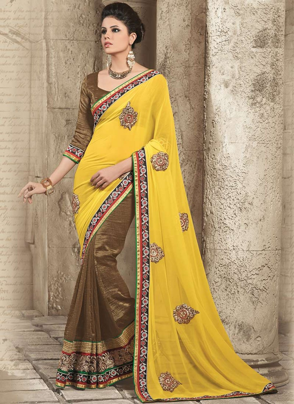 Yellow And Brown Georgette Half And Half Saree