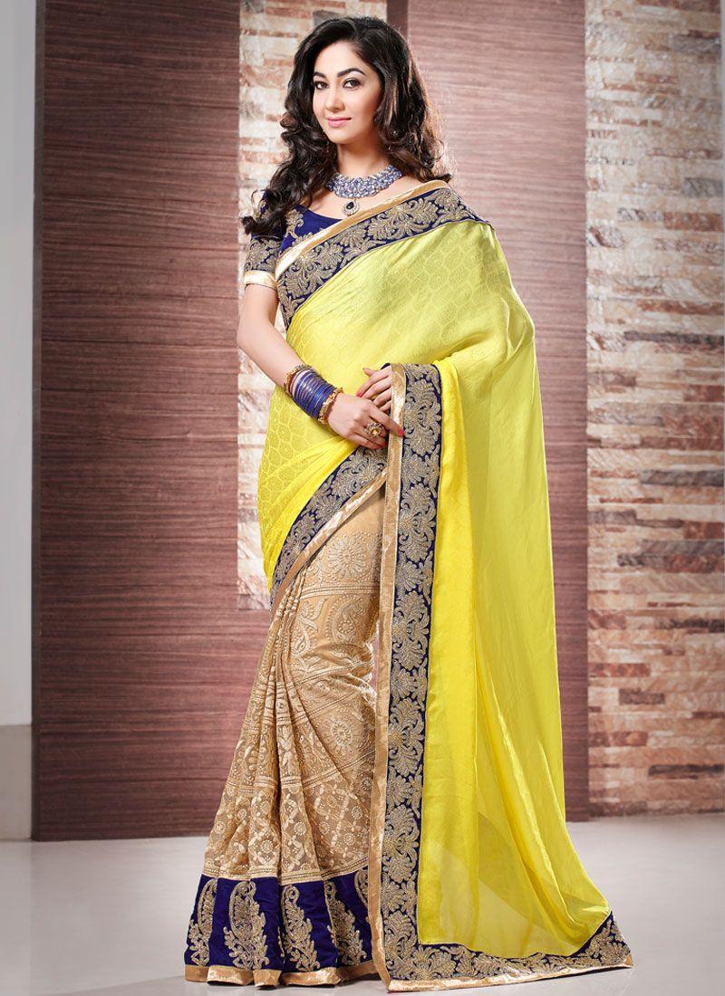 Yellow And Brown Resham Work Georgette Designer Saree