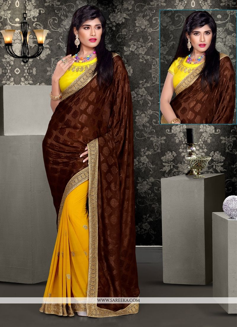 Yellow And Brown Viscose And Georgette Saree