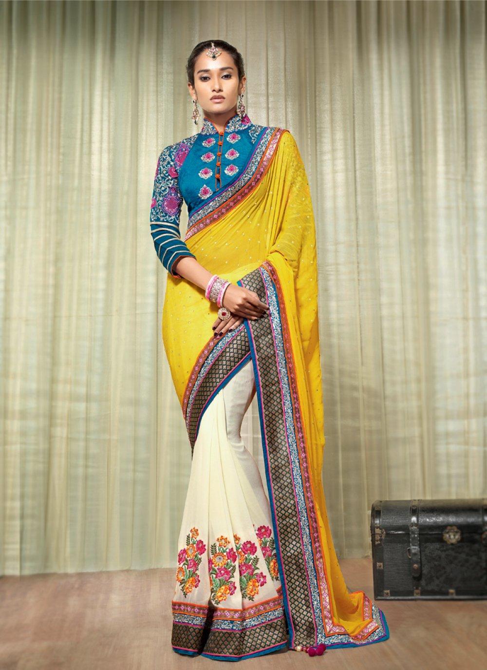 Yellow And Cream Georgette Designer Saree