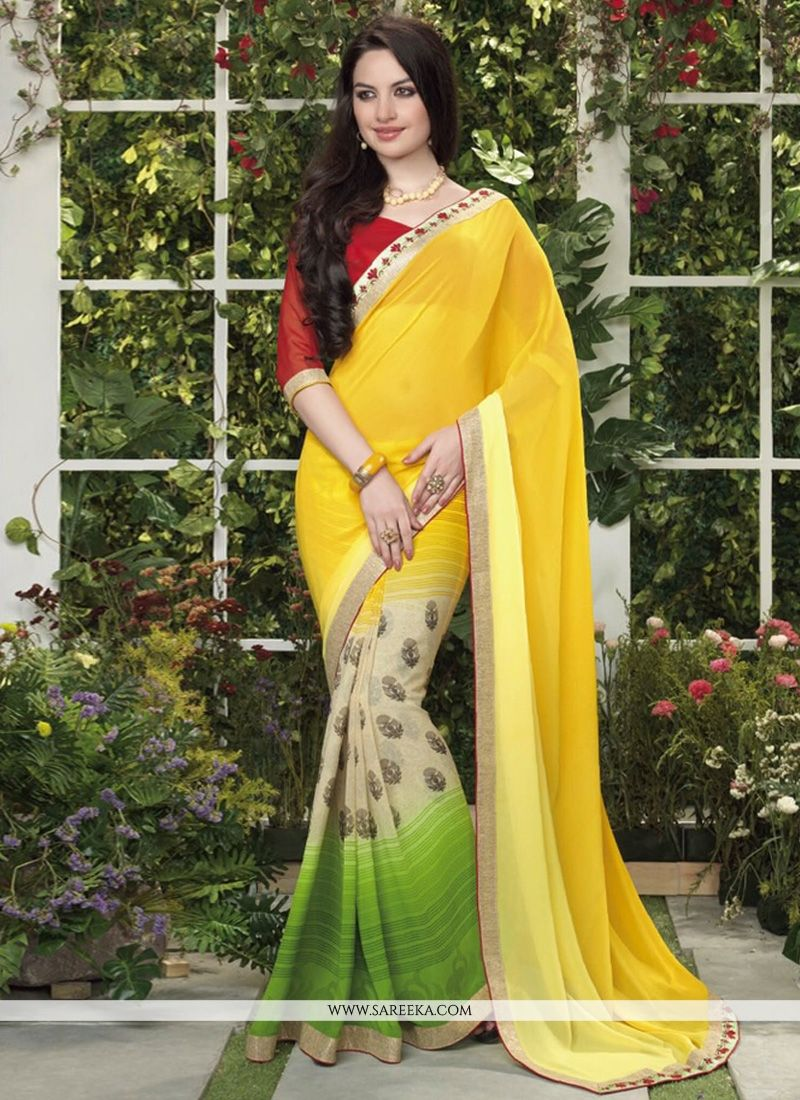 Yellow And Cream Less Georgette Casual Saree